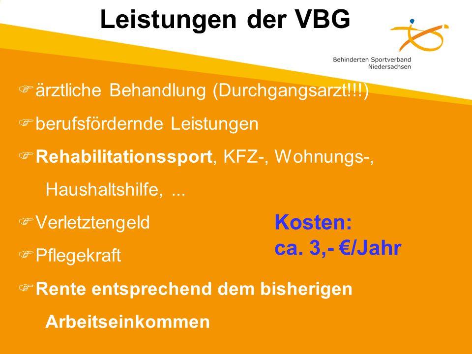 ärztliche Behandlung (Durchgangsarzt!!!) berufsfördernde Leistungen Rehabilitationssport, KFZ-, Wohnungs-, Haushaltshilfe,...