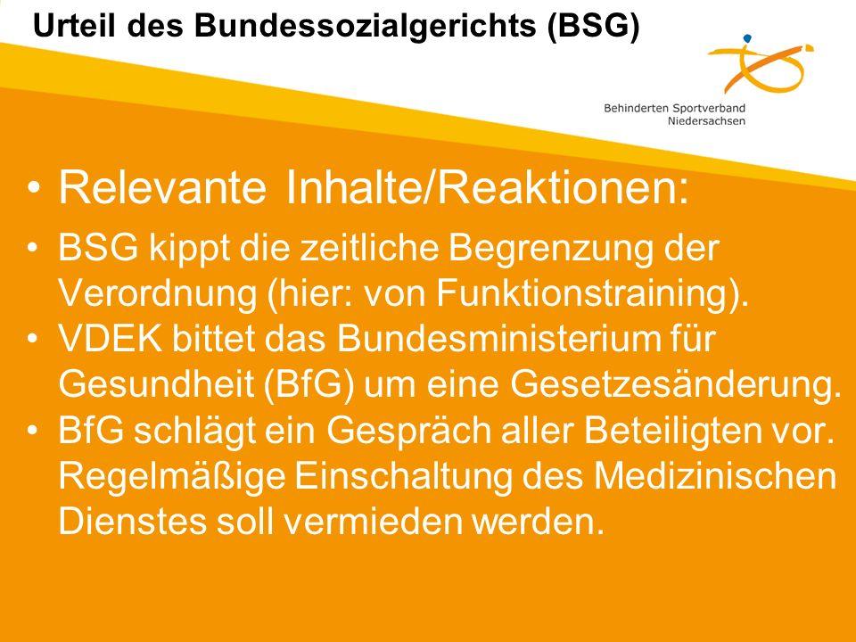 Relevante Inhalte/Reaktionen: BSG kippt die zeitliche Begrenzung der Verordnung (hier: von Funktionstraining).