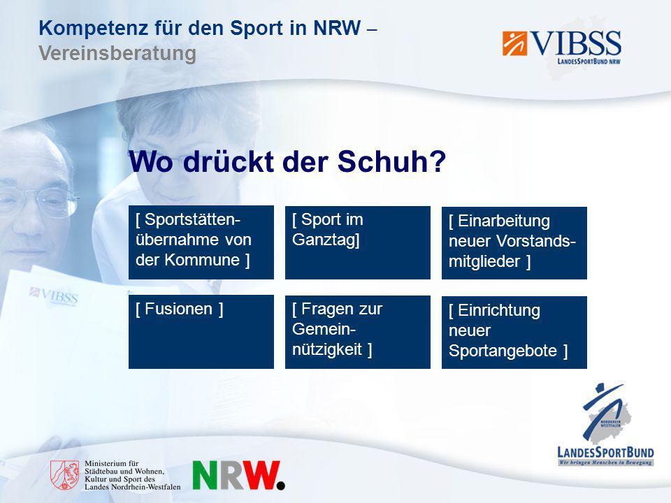 Kompetenz für den Sport in NRW – Vereinsberatung Wo drückt der Schuh.
