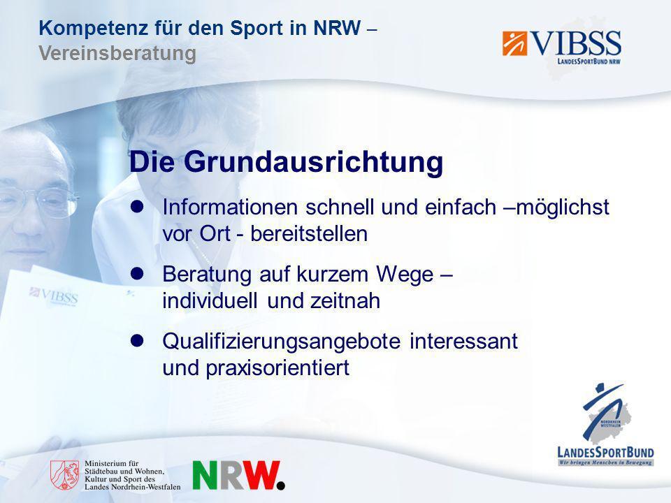 Kompetenz für den Sport in NRW – Vereinsberatung Die Grundausrichtung Informationen schnell und einfach –möglichst vor Ort - bereitstellen Beratung auf kurzem Wege – individuell und zeitnah Qualifizierungsangebote interessant und praxisorientiert