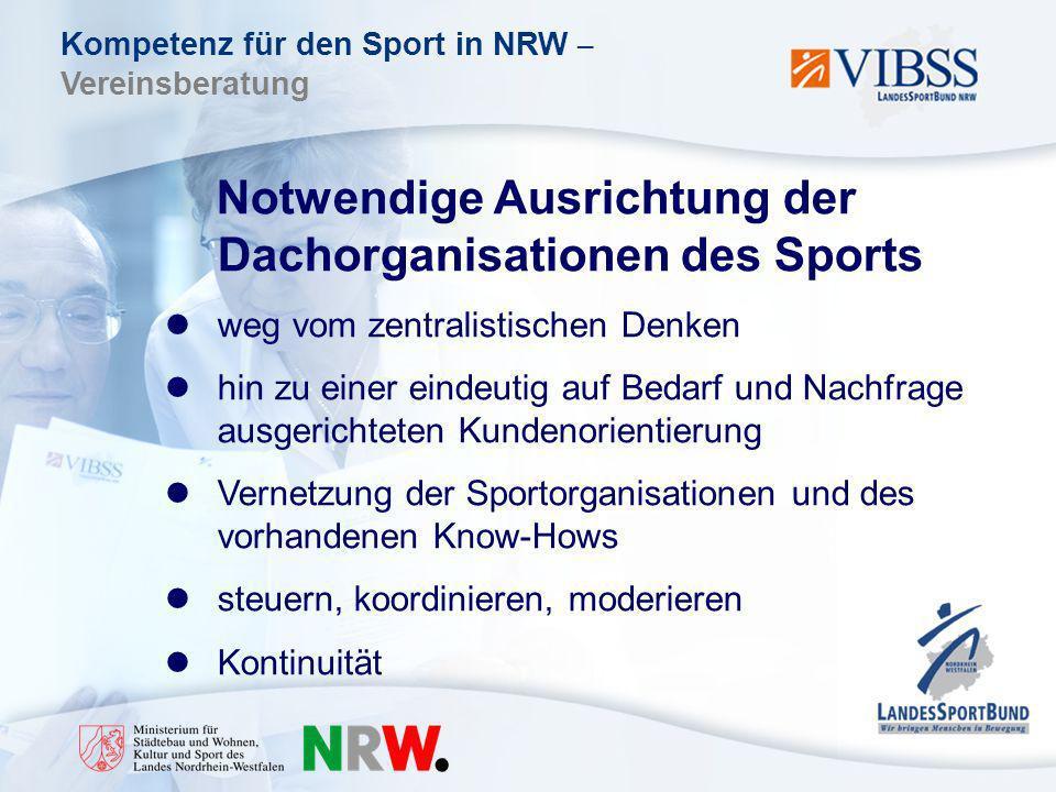 Kompetenz für den Sport in NRW – Vereinsberatung Notwendige Ausrichtung der Dachorganisationen des Sports weg vom zentralistischen Denken hin zu einer eindeutig auf Bedarf und Nachfrage ausgerichteten Kundenorientierung Vernetzung der Sportorganisationen und des vorhandenen Know-Hows steuern, koordinieren, moderieren Kontinuität