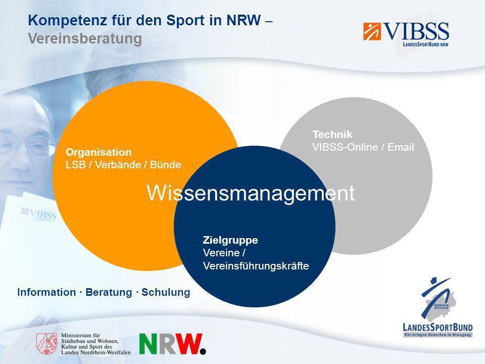 Kompetenz für den Sport in NRW – Vereinsberatung Technik VIBSS-Online / Email Organisation LSB / Verbände / Bünde Zielgruppe Vereine / Vereinsführungskräfte Wissensmanagement Information · Beratung · Schulung