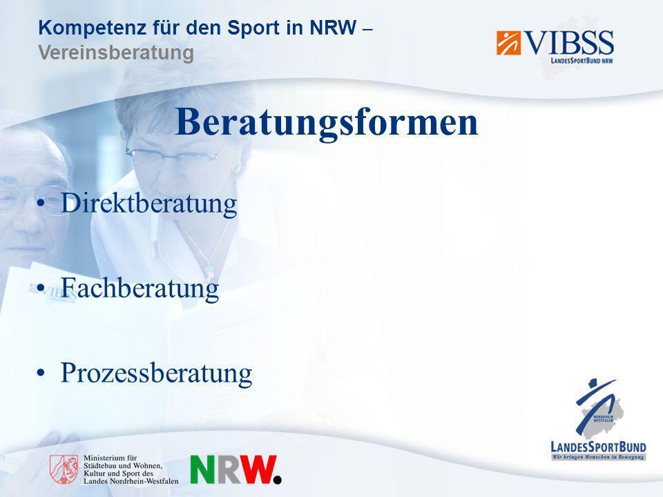 Kompetenz für den Sport in NRW – Vereinsberatung Beratungsformen Direktberatung Fachberatung Prozessberatung