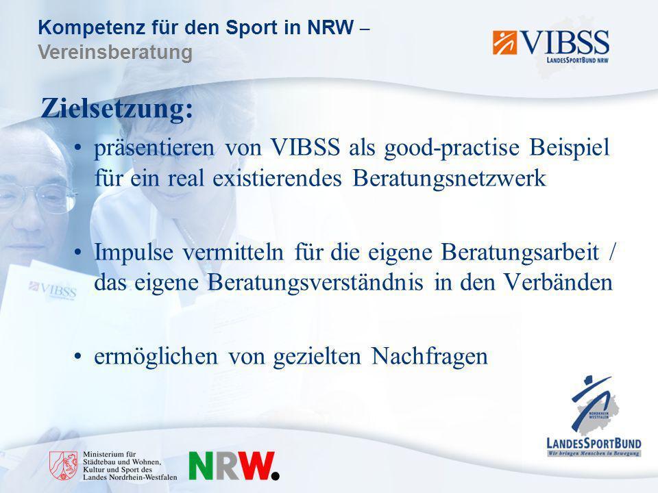 Kompetenz für den Sport in NRW – Vereinsberatung Zielsetzung: präsentieren von VIBSS als good-practise Beispiel für ein real existierendes Beratungsnetzwerk Impulse vermitteln für die eigene Beratungsarbeit / das eigene Beratungsverständnis in den Verbänden ermöglichen von gezielten Nachfragen