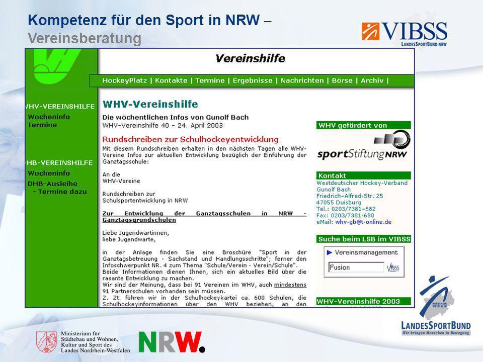 Kompetenz für den Sport in NRW – Vereinsberatung VIBSS-Online www.vibss.de