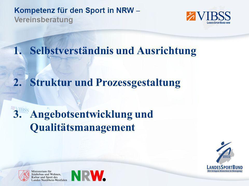 Kompetenz für den Sport in NRW – Vereinsberatung 1.Selbstverständnis und Ausrichtung 2.Struktur und Prozessgestaltung 3.Angebotsentwicklung und Qualitätsmanagement