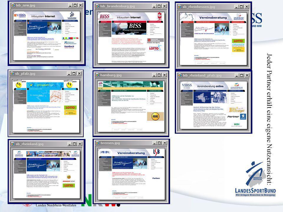 Kompetenz für den Sport in NRW – Vereinsberatung Jeder Partner erhält eine eigene Nutzeransicht:
