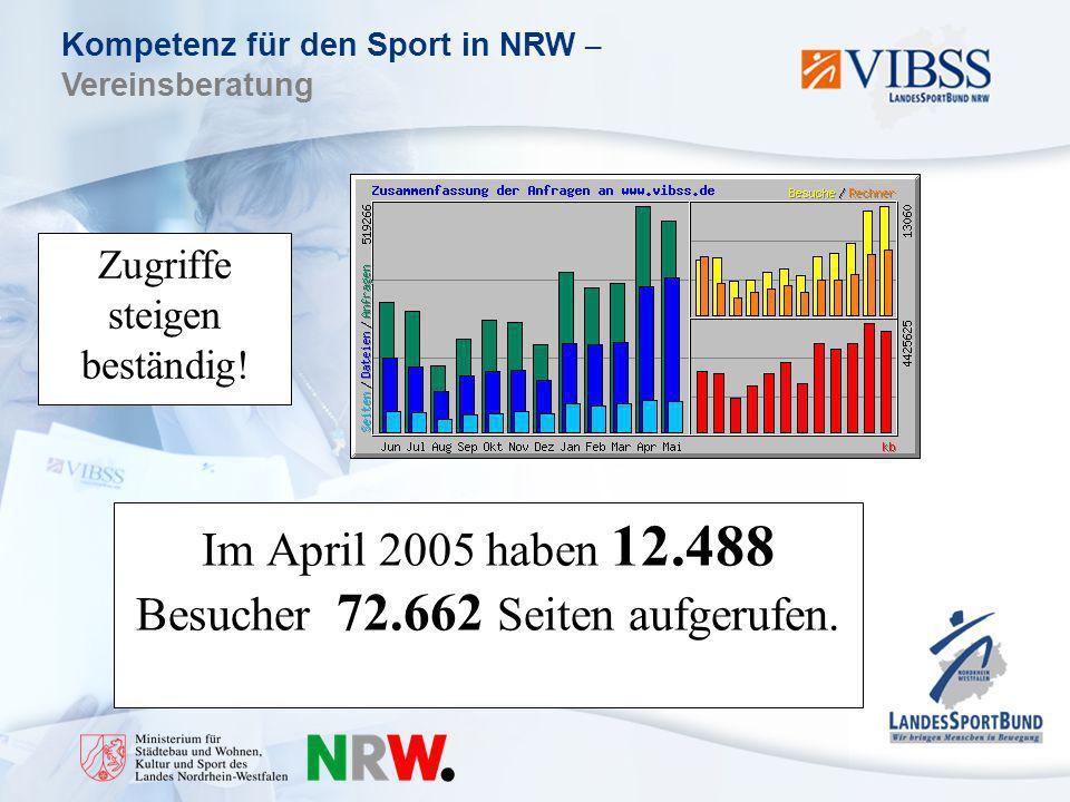 Kompetenz für den Sport in NRW – Vereinsberatung Zugriffe steigen beständig.