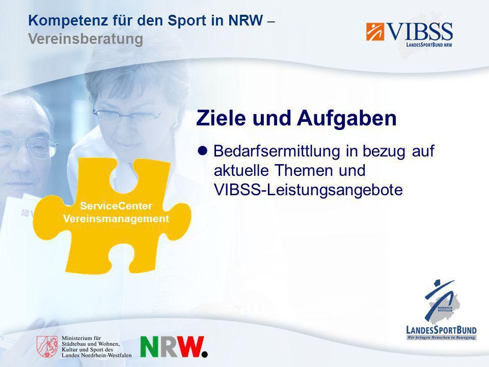 Kompetenz für den Sport in NRW – Vereinsberatung Ziele und Aufgaben Bedarfsermittlung in bezug auf aktuelle Themen und VIBSS-Leistungsangebote ServiceCenter Vereinsmanagement