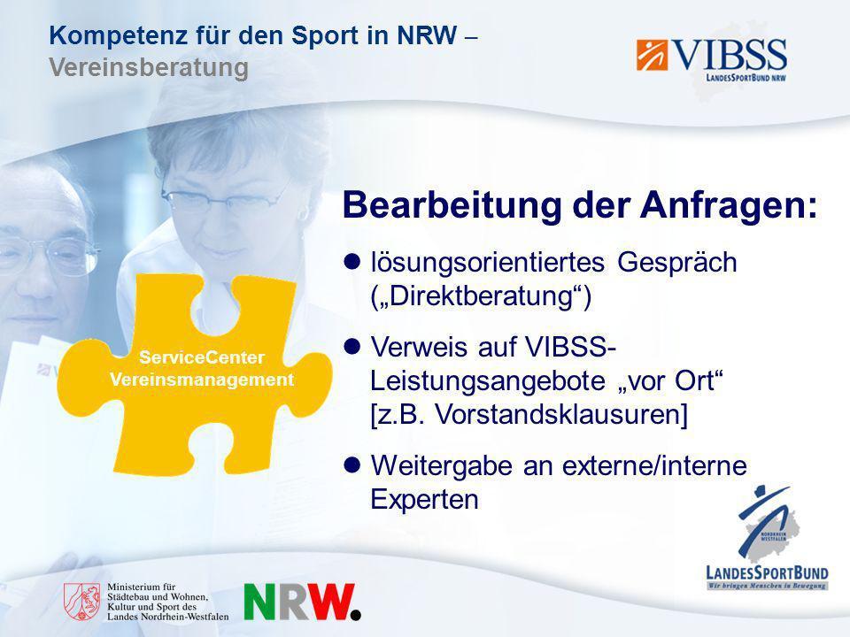 Kompetenz für den Sport in NRW – Vereinsberatung ServiceCenter Vereinsmanagement Bearbeitung der Anfragen: lösungsorientiertes Gespräch (Direktberatung) Verweis auf VIBSS- Leistungsangebote vor Ort [z.B.