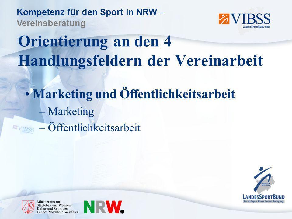 Kompetenz für den Sport in NRW – Vereinsberatung Orientierung an den 4 Handlungsfeldern der Vereinarbeit Marketing und Öffentlichkeitsarbeit – Marketing – Öffentlichkeitsarbeit