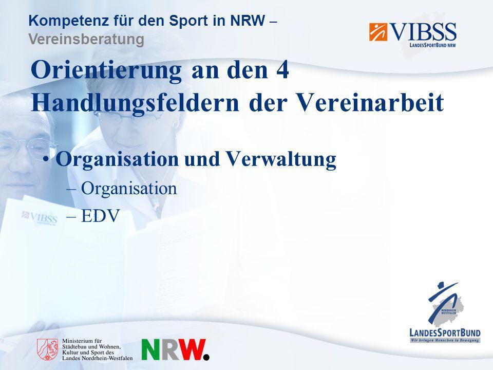 Kompetenz für den Sport in NRW – Vereinsberatung Orientierung an den 4 Handlungsfeldern der Vereinarbeit Organisation und Verwaltung – Organisation – EDV
