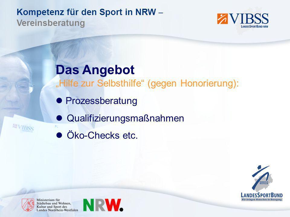 Kompetenz für den Sport in NRW – Vereinsberatung Das Angebot Hilfe zur Selbsthilfe (gegen Honorierung): Prozessberatung Qualifizierungsmaßnahmen Öko-Checks etc.