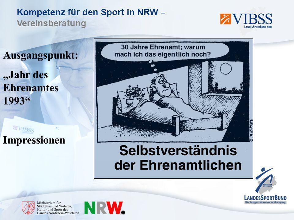 Kompetenz für den Sport in NRW – Vereinsberatung Ausgangspunkt: Jahr des Ehrenamtes 1993 Impressionen