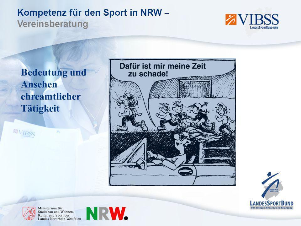 Kompetenz für den Sport in NRW – Vereinsberatung Bedeutung und Ansehen ehreamtlicher Tätigkeit