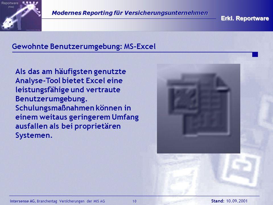 intersense AG, Branchentag Versicherungen der MIS AG Stand: 10.09.2001 10 Modernes Reporting für Versicherungsunternehmen Modernes Reporting für Versi