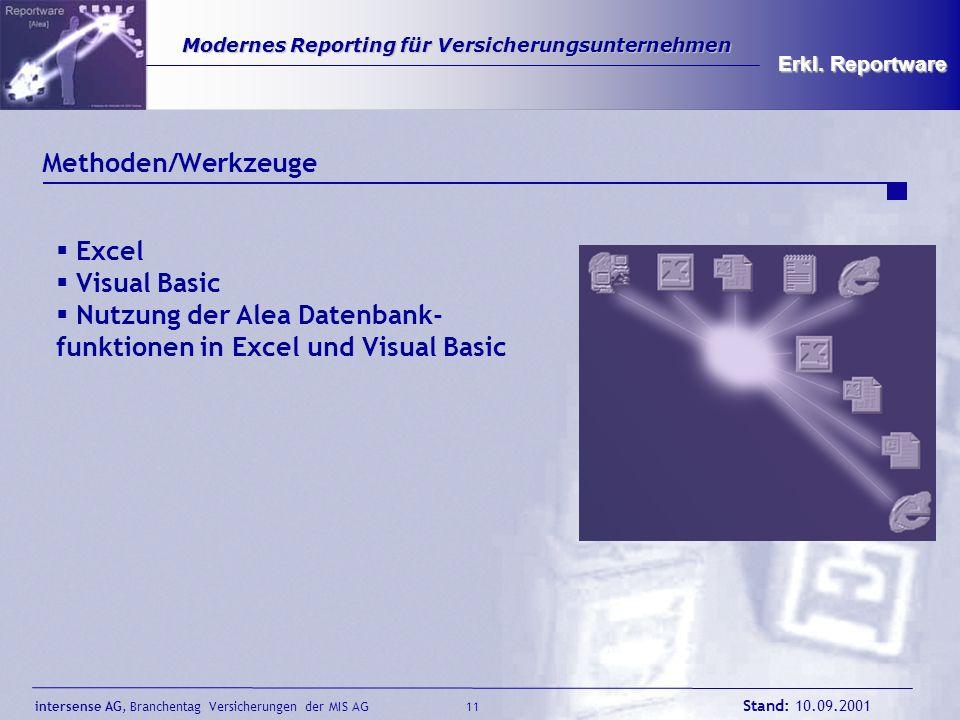 intersense AG, Branchentag Versicherungen der MIS AG Stand: 10.09.2001 11 Modernes Reporting für Versicherungsunternehmen Modernes Reporting für Versi