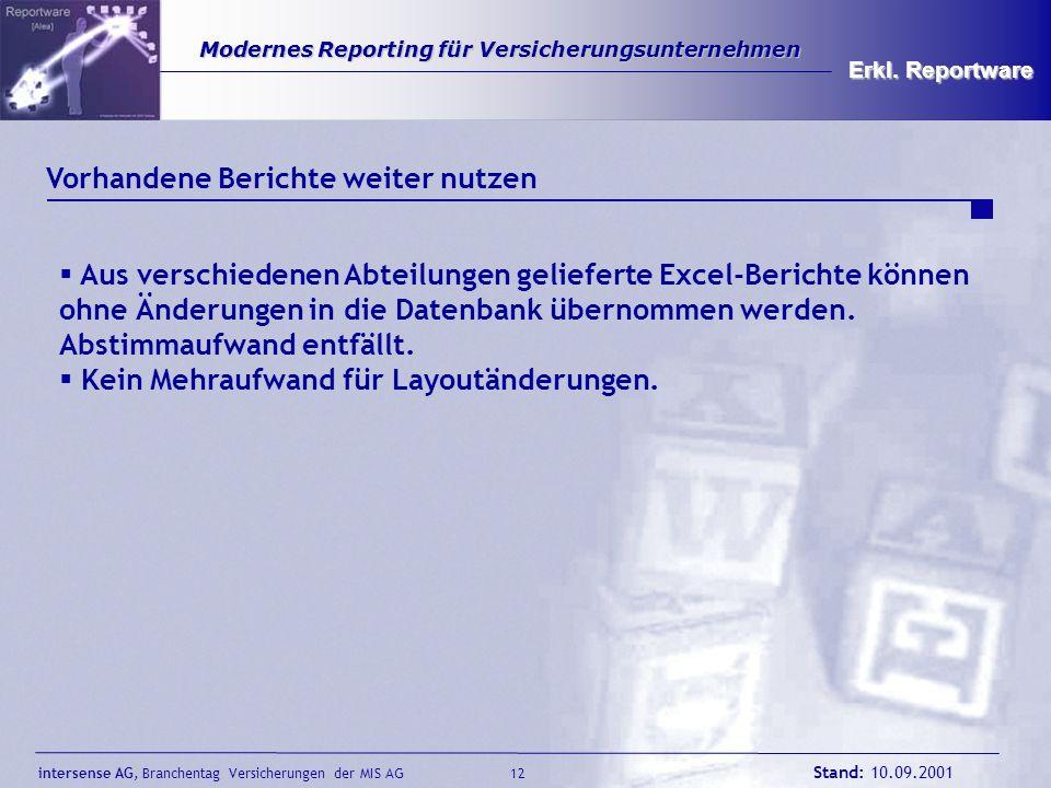 intersense AG, Branchentag Versicherungen der MIS AG Stand: 10.09.2001 12 Modernes Reporting für Versicherungsunternehmen Modernes Reporting für Versi