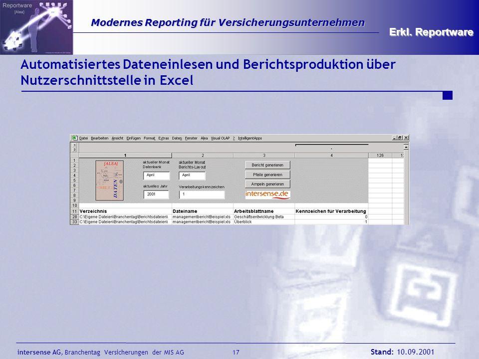 intersense AG, Branchentag Versicherungen der MIS AG Stand: 10.09.2001 17 Modernes Reporting für Versicherungsunternehmen Modernes Reporting für Versi