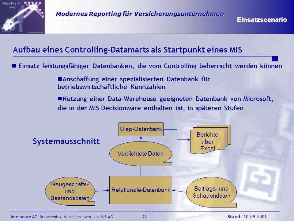 intersense AG, Branchentag Versicherungen der MIS AG Stand: 10.09.2001 22 Modernes Reporting für Versicherungsunternehmen Modernes Reporting für Versi