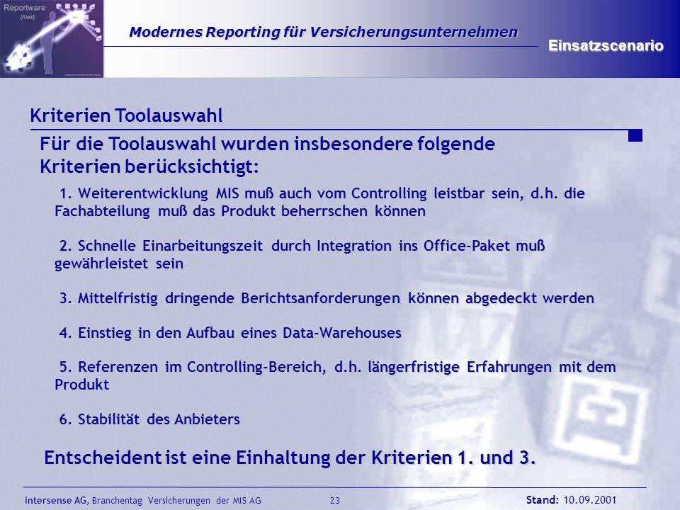 intersense AG, Branchentag Versicherungen der MIS AG Stand: 10.09.2001 23 Modernes Reporting für Versicherungsunternehmen Modernes Reporting für Versi