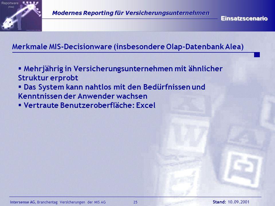 intersense AG, Branchentag Versicherungen der MIS AG Stand: 10.09.2001 26 Modernes Reporting für Versicherungsunternehmen Modernes Reporting für Versicherungsunternehmen Einsatzscenario Was soll mit dem Management-Informationssystem erreicht werden.