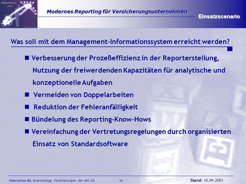 intersense AG, Branchentag Versicherungen der MIS AG Stand: 10.09.2001 27 Modernes Reporting für Versicherungsunternehmen Modernes Reporting für Versicherungsunternehmen Einsatzscenario Was soll mit dem Management-Informationssystem erreicht werden.