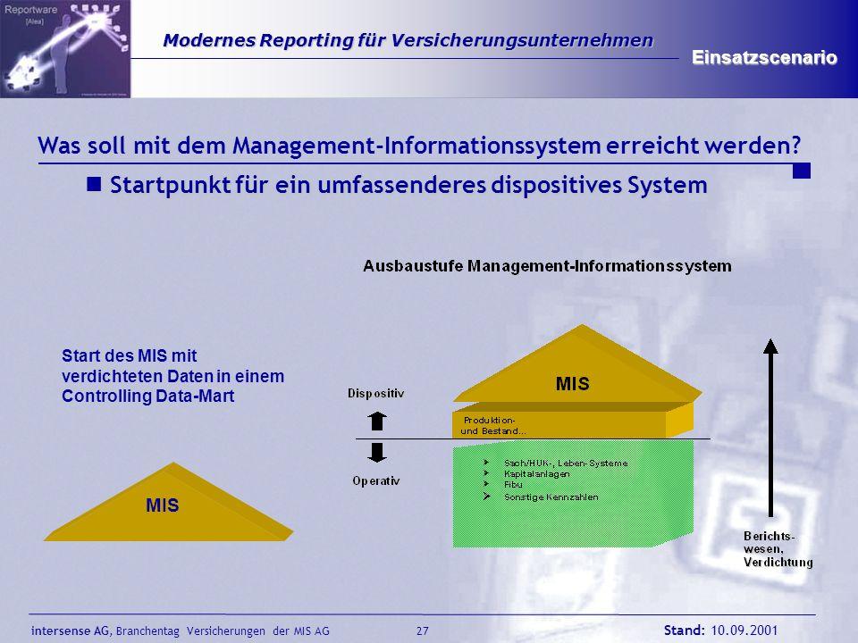 intersense AG, Branchentag Versicherungen der MIS AG Stand: 10.09.2001 27 Modernes Reporting für Versicherungsunternehmen Modernes Reporting für Versi