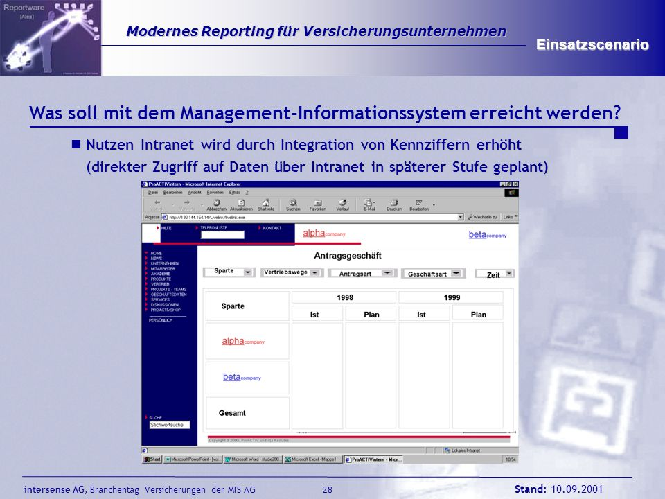 intersense AG, Branchentag Versicherungen der MIS AG Stand: 10.09.2001 29 Modernes Reporting für Versicherungsunternehmen Modernes Reporting für Versicherungsunternehmen Einsatzscenario Warum Aufbau des Management-Informationssystems jetzt.