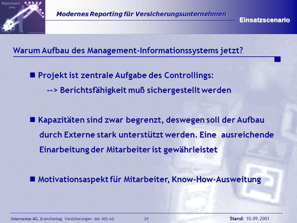 intersense AG, Branchentag Versicherungen der MIS AG Stand: 10.09.2001 29 Modernes Reporting für Versicherungsunternehmen Modernes Reporting für Versi
