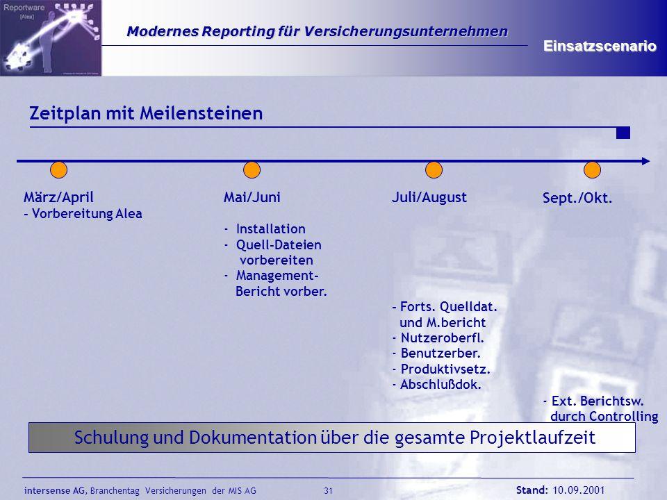 intersense AG, Branchentag Versicherungen der MIS AG Stand: 10.09.2001 31 Modernes Reporting für Versicherungsunternehmen Modernes Reporting für Versi
