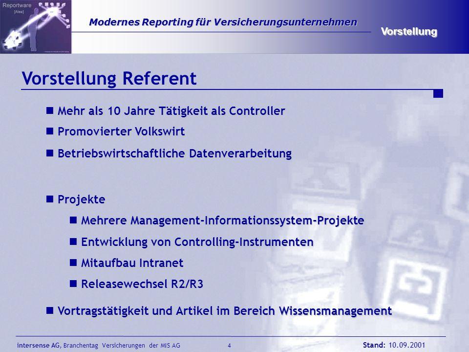 intersense AG, Branchentag Versicherungen der MIS AG Stand: 10.09.2001 4 Modernes Reporting für Versicherungsunternehmen Modernes Reporting für Versic