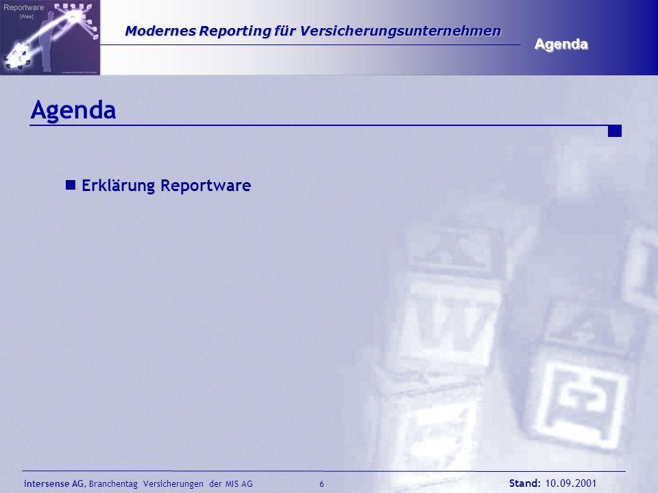 intersense AG, Branchentag Versicherungen der MIS AG Stand: 10.09.2001 6 Modernes Reporting für Versicherungsunternehmen Modernes Reporting für Versic