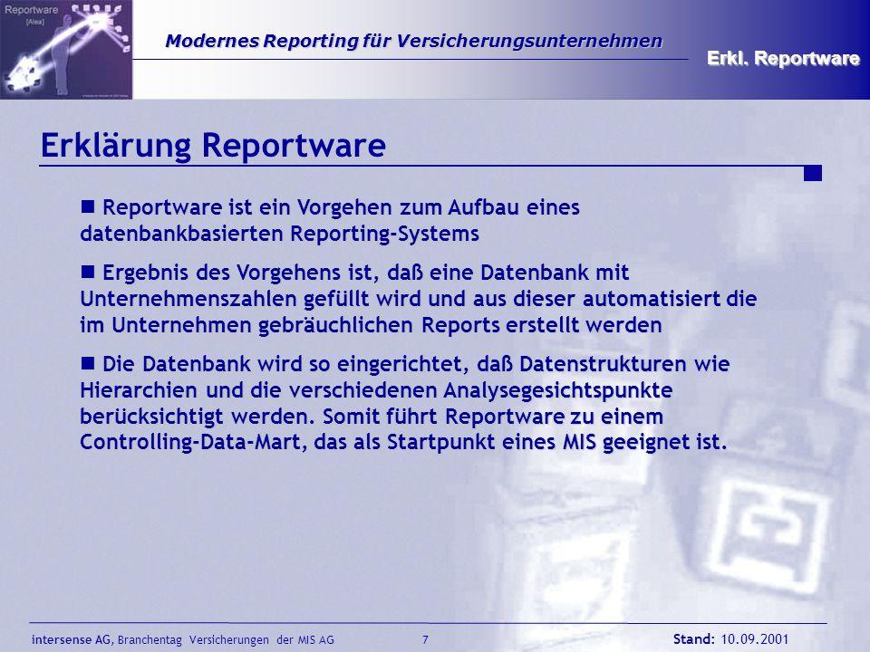 intersense AG, Branchentag Versicherungen der MIS AG Stand: 10.09.2001 7 Modernes Reporting für Versicherungsunternehmen Modernes Reporting für Versic