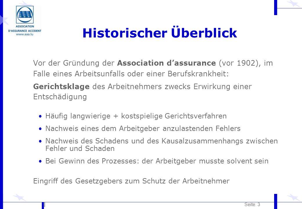 Seite: 3 Historischer Überblick Vor der Gründung der Association dassurance (vor 1902), im Falle eines Arbeitsunfalls oder einer Berufskrankheit: Geri
