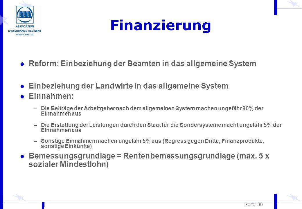 Seite: 36 Finanzierung l Reform: Einbeziehung der Beamten in das allgemeine System l Einbeziehung der Landwirte in das allgemeine System l Einnahmen: