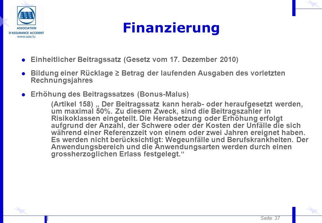 Seite: 37 Finanzierung l Einheitlicher Beitragssatz (Gesetz vom 17. Dezember 2010) l Bildung einer Rücklage Betrag der laufenden Ausgaben des vorletzt