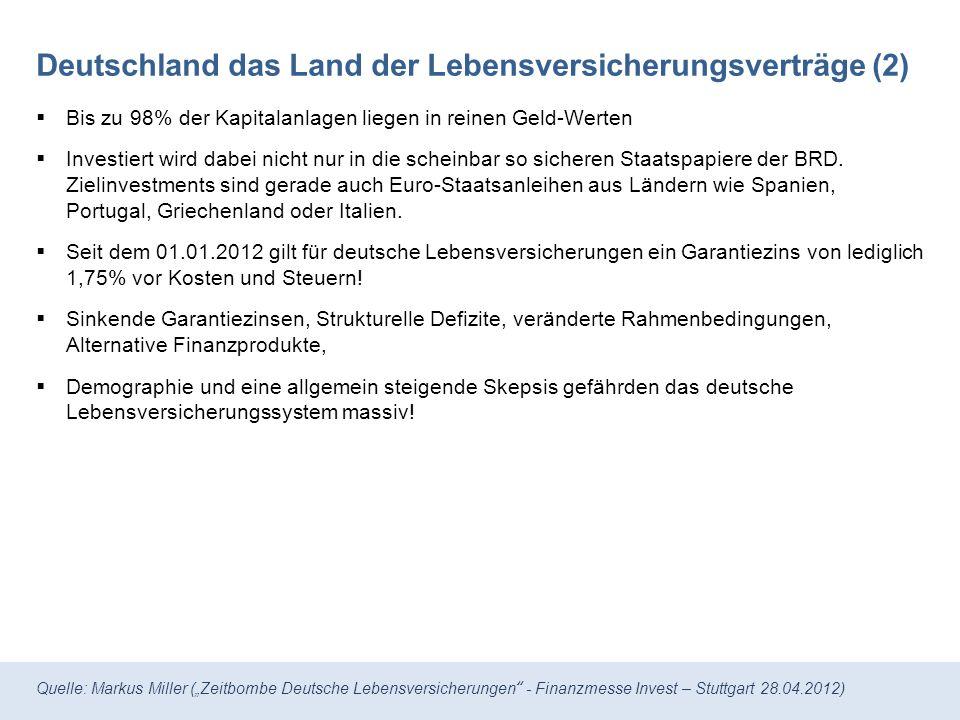 Quelle: Markus Miller (Zeitbombe Deutsche Lebensversicherungen - Finanzmesse Invest – Stuttgart 28.04.2012) Die Vermögenswerte deutscher Lebensversicherungen Quelle: BaFin, Infografik Welt Online