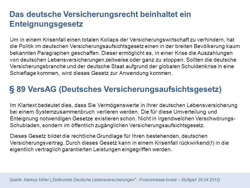Quelle: Markus Miller (Zeitbombe Deutsche Lebensversicherungen - Finanzmesse Invest – Stuttgart 28.04.2012) Lebens- und Rentenversicherung: Offiziell bei der BaFin1 gemeldete Aufwendungen ausgewählter Lebensversicherungs- unternehmen in Deutschland.