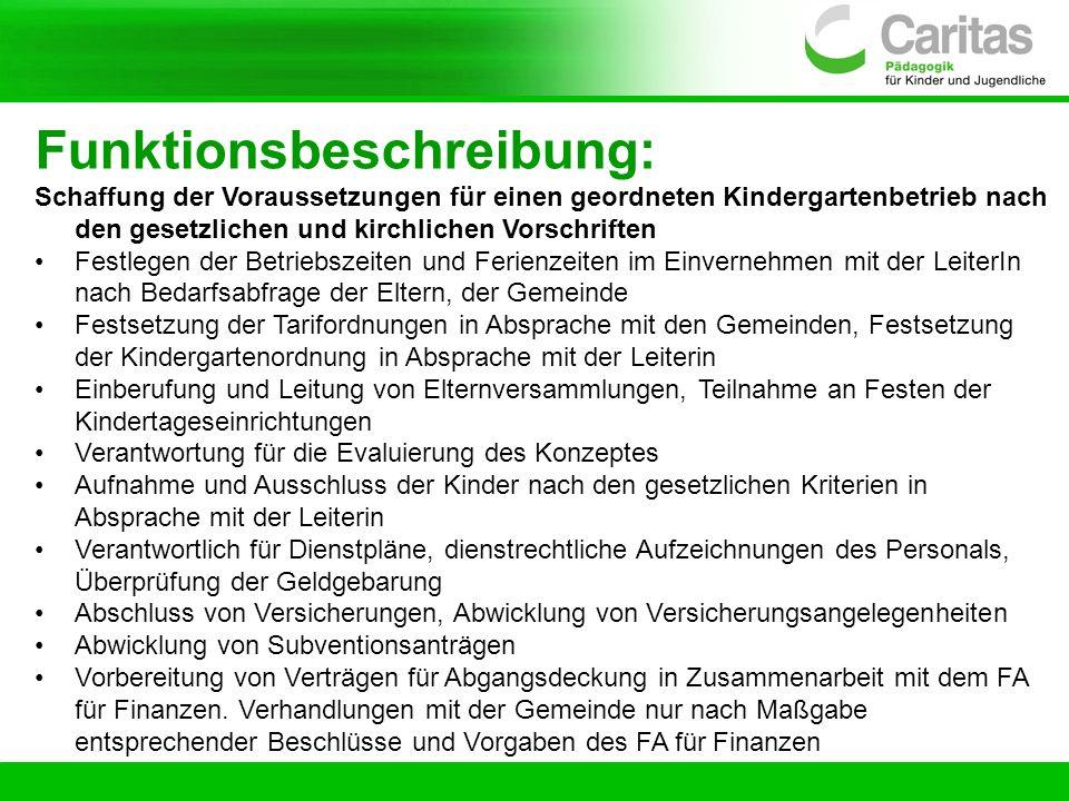 Funktionsbeschreibung: Schaffung der Voraussetzungen für einen geordneten Kindergartenbetrieb nach den gesetzlichen und kirchlichen Vorschriften Festl