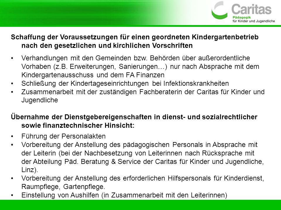 Schaffung der Voraussetzungen für einen geordneten Kindergartenbetrieb nach den gesetzlichen und kirchlichen Vorschriften Verhandlungen mit den Gemein