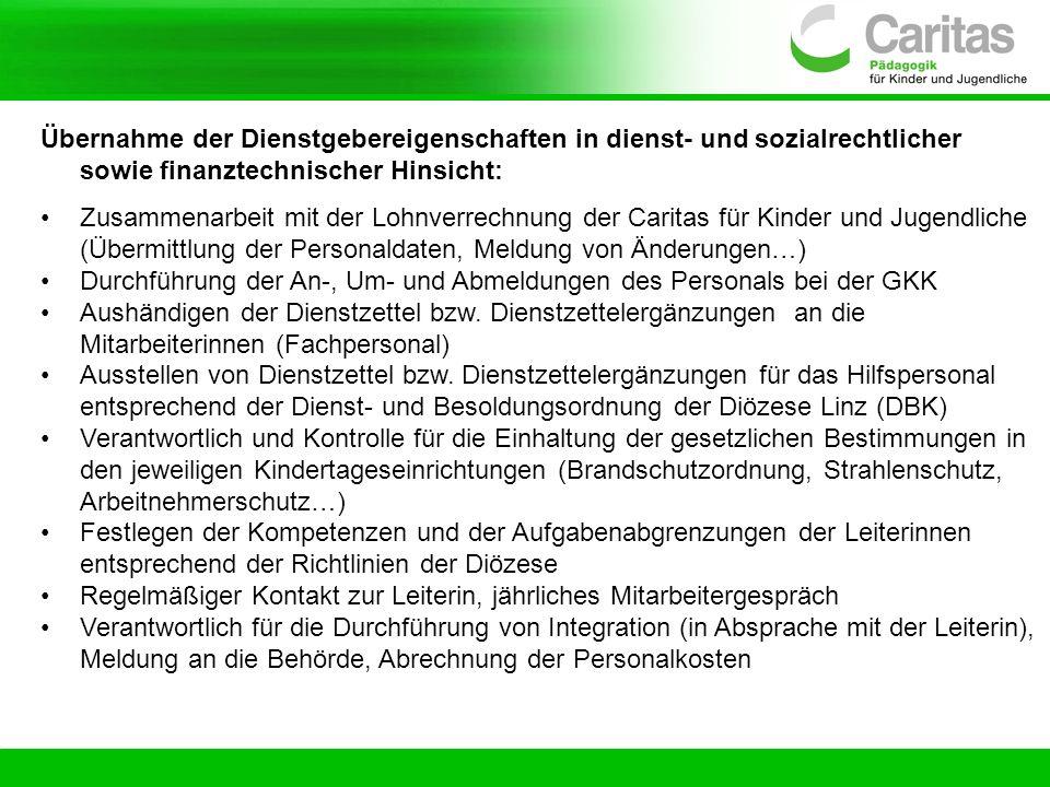 Übernahme der Dienstgebereigenschaften in dienst- und sozialrechtlicher sowie finanztechnischer Hinsicht: Zusammenarbeit mit der Lohnverrechnung der C
