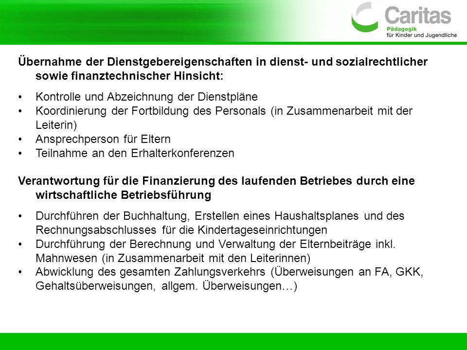 Übernahme der Dienstgebereigenschaften in dienst- und sozialrechtlicher sowie finanztechnischer Hinsicht: Kontrolle und Abzeichnung der Dienstpläne Ko