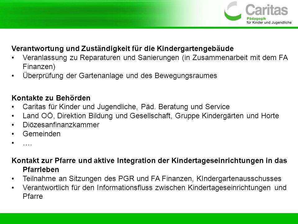 Verantwortung und Zuständigkeit für die Kindergartengebäude Veranlassung zu Reparaturen und Sanierungen (in Zusammenarbeit mit dem FA Finanzen) Überpr