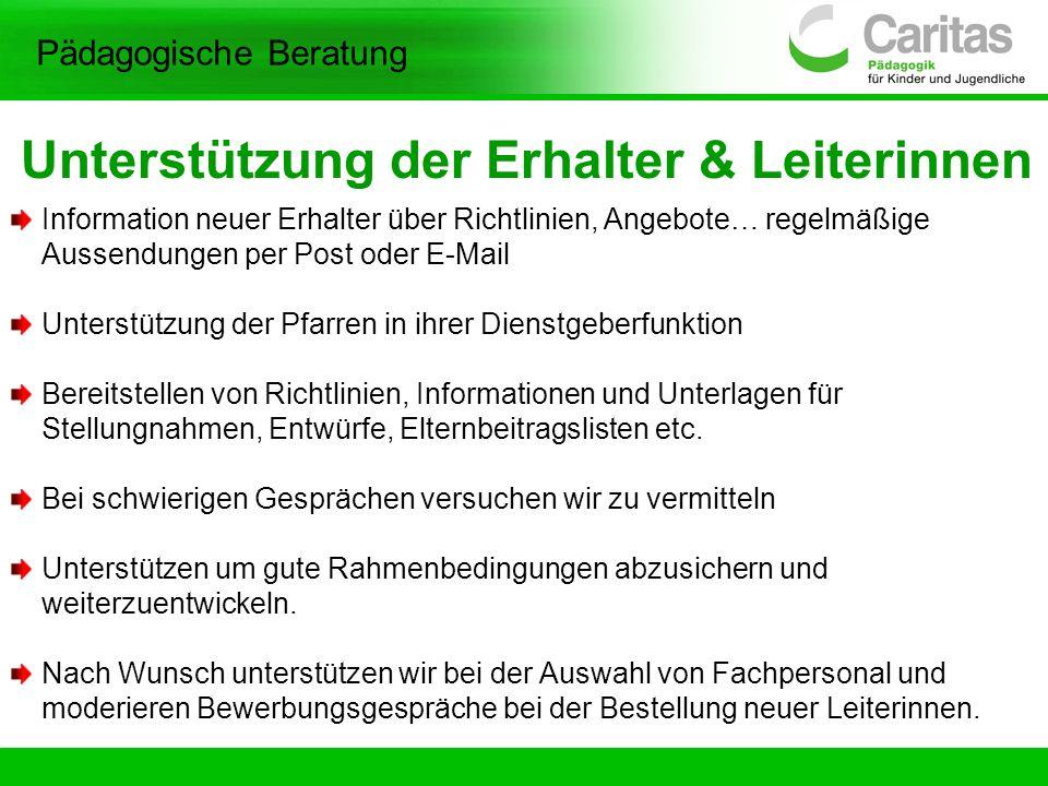 Unterstützung der Erhalter & Leiterinnen Information neuer Erhalter über Richtlinien, Angebote… regelmäßige Aussendungen per Post oder E-Mail Unterstü