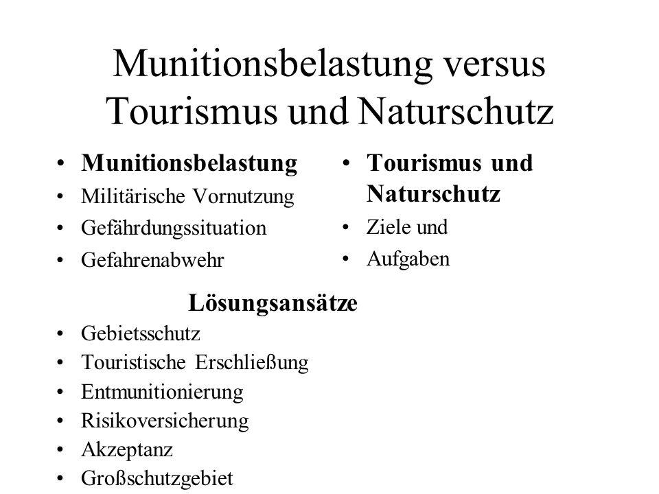 Munitionsbelastung Militärische Vornutzung Gefährdungssituation Gefahrenabwehr Tourismus und Naturschutz Ziele und Aufgaben Lösungsansätze Gebietsschu