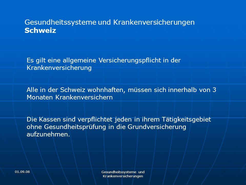 01.09.08 Gesundheitssysteme und Krankenversicherungen Schweiz Es gilt eine allgemeine Versicherungspflicht in der Krankenversicherung Alle in der Schw