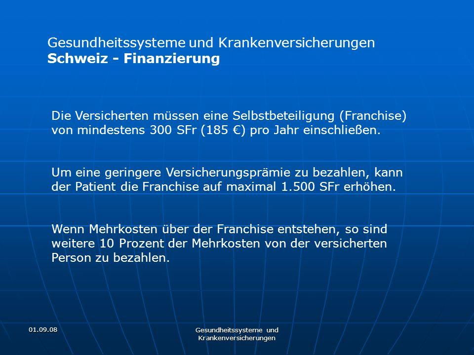 01.09.08 Gesundheitssysteme und Krankenversicherungen Schweiz - Finanzierung Die Versicherten müssen eine Selbstbeteiligung (Franchise) von mindestens