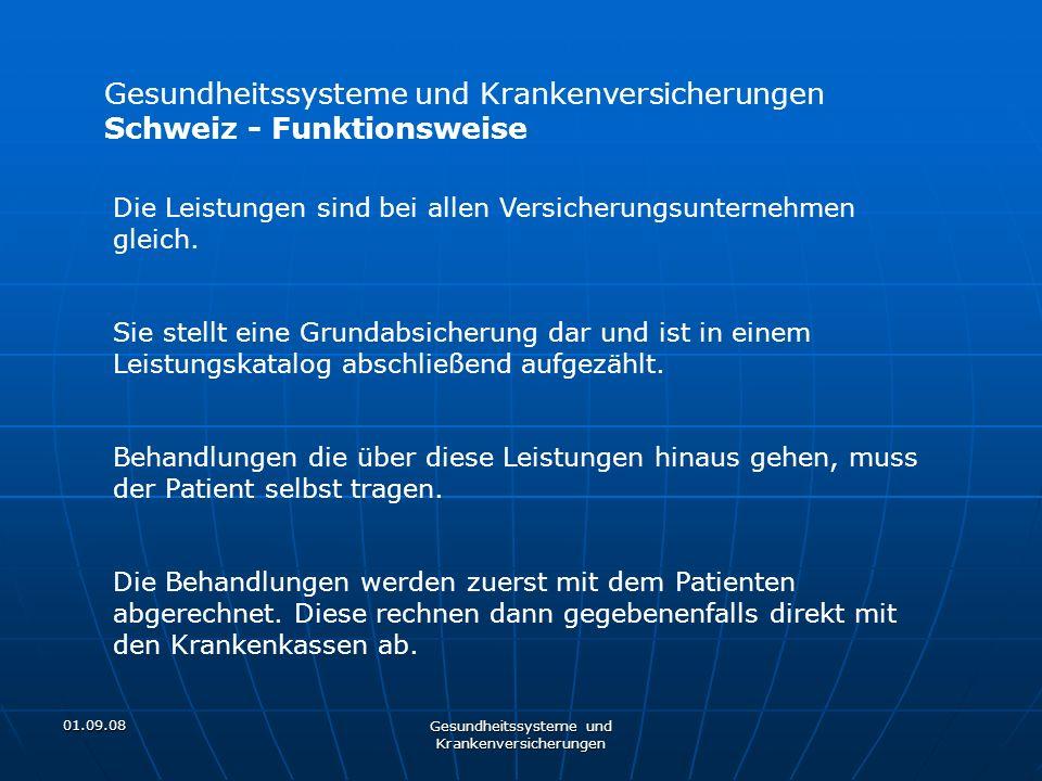 01.09.08 Gesundheitssysteme und Krankenversicherungen Schweiz - Funktionsweise Die Leistungen sind bei allen Versicherungsunternehmen gleich. Sie stel