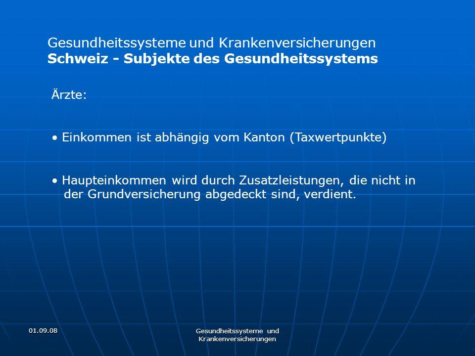 01.09.08 Gesundheitssysteme und Krankenversicherungen Schweiz - Subjekte des Gesundheitssystems Ärzte: Einkommen ist abhängig vom Kanton (Taxwertpunkt